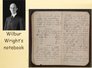 "Wilbur Wright's Notebook, from ""The Achievement: The Dream of Flight."" The Library of Congress."
